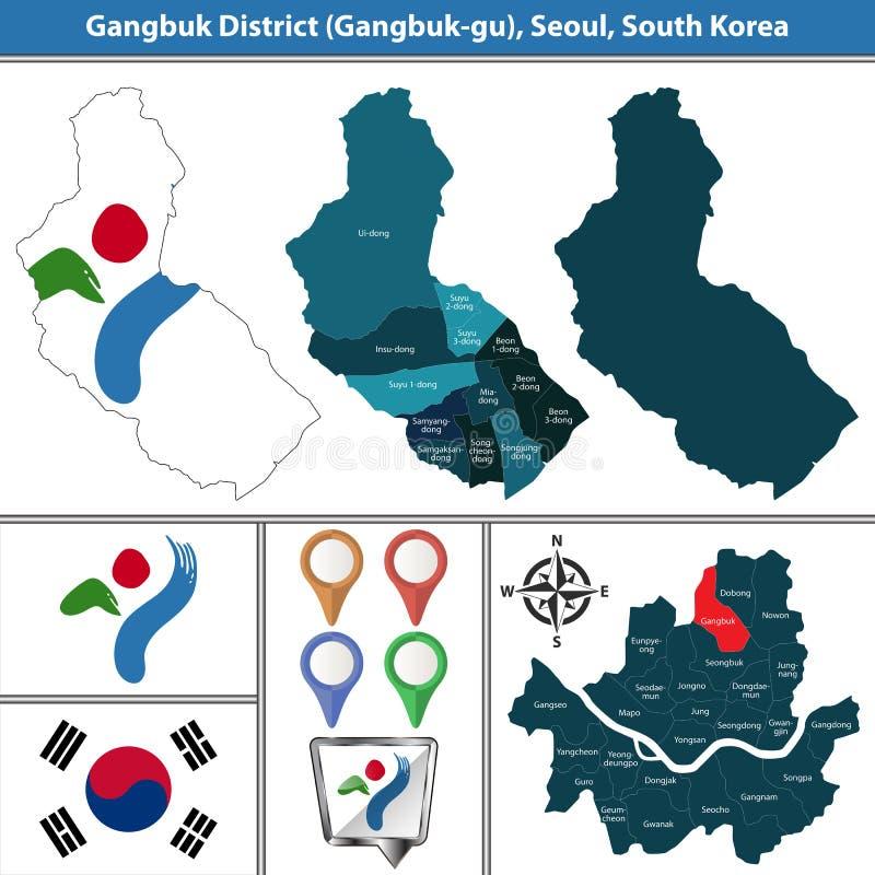 Gangbukdistrict, de Stad van Seoel, Zuid-Korea stock illustratie