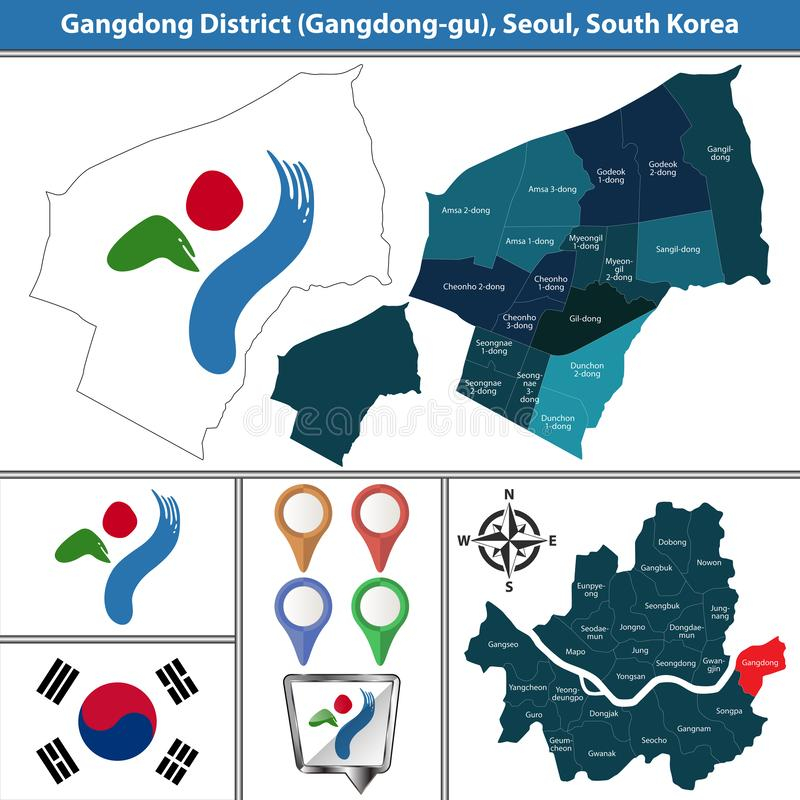 Gangdongdistrict, de Stad van Seoel, Zuid-Korea royalty-vrije illustratie