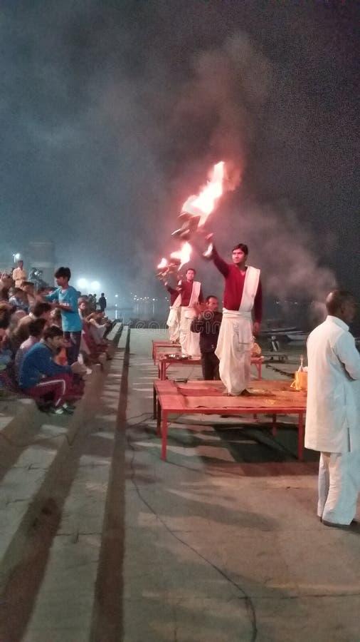 Ganges Arti fotografia stock
