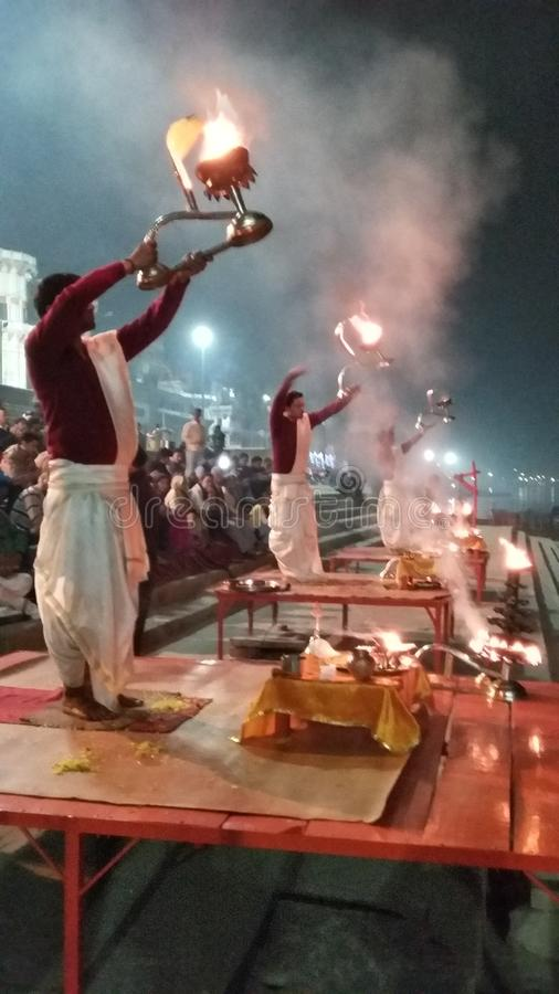 Ganges Arti stock photo