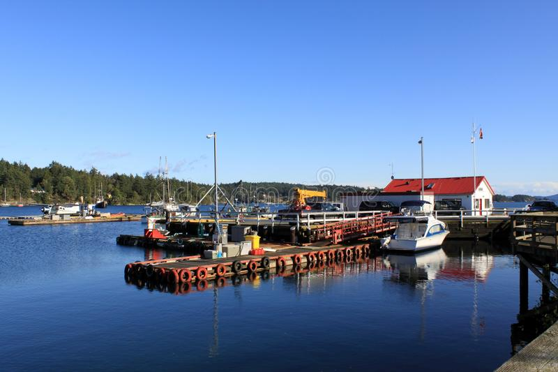 Marina docking at Ganges Harbour, Salt Spring Island, BC. Ganges Harbour on British Columbia`s Salt Spring Island on the west coast of Canada. This area is where royalty free stock photo