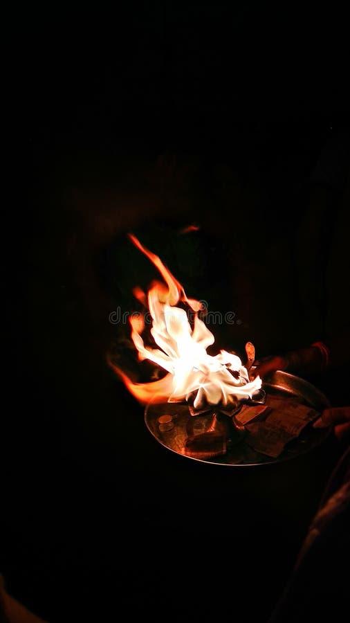 Ganges poojaflamma arkivfoto