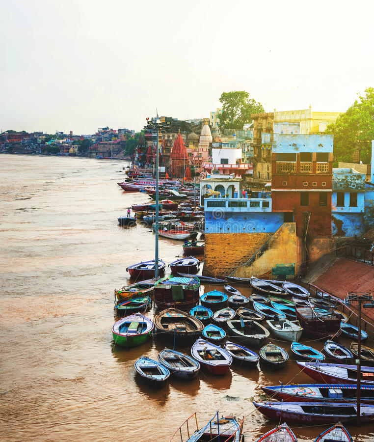 Ganges river aerial view in Varanasi, India. Ghats with boats and people. Popular landmark in the city royalty free stock photography