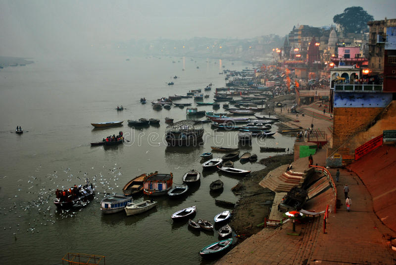 Ganges River offerings Ceremony, Varanasi India. Tourists are watching the offering Ceremony of the Ganges River from boats on river at Varanasi, India. Banaras royalty free stock photos