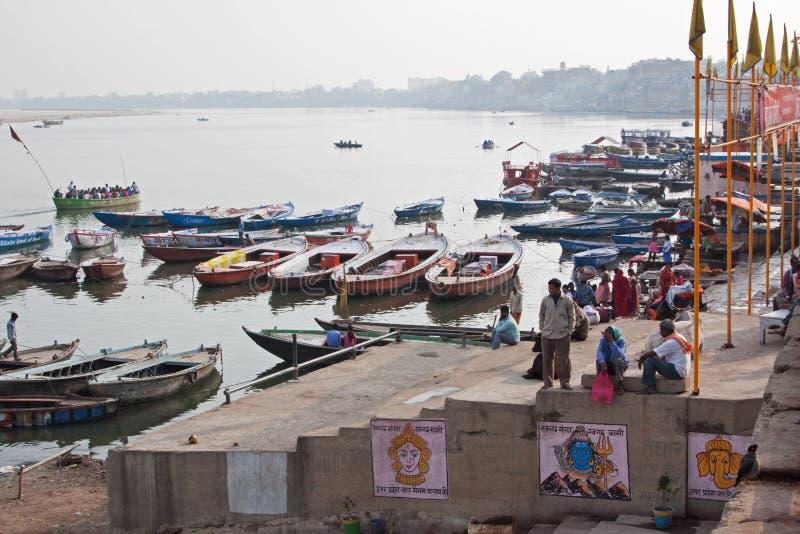 Ganges Rzeczne łodzie zdjęcie stock