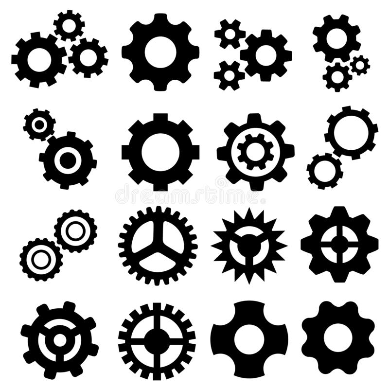 Gangikonen-Vektorsatz Gangikone Einstellungen oder Wahlen Illustrationssymbol stock abbildung