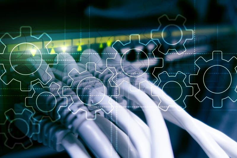 Gangmechanismus, digitale Umwandlung, Datenintegration und Digitaltechnikkonzept lizenzfreie stockfotografie