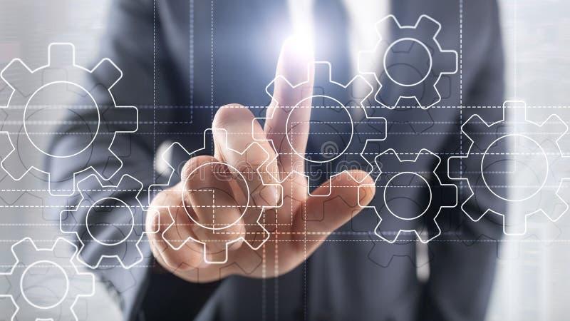 Gangmechanismus, digitale Umwandlung, Datenintegration und Digitaltechnikkonzept lizenzfreie stockbilder