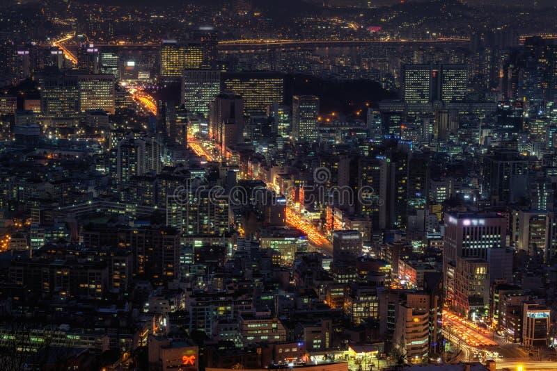 Gangnam и seocho на ноче стоковая фотография rf