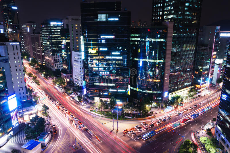 Download Gangnam Intersection editorial photo. Image of asia, time - 35089721