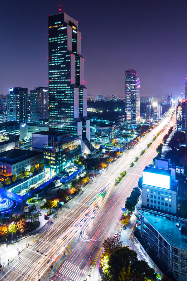 Gangnam område i Seoul royaltyfria foton