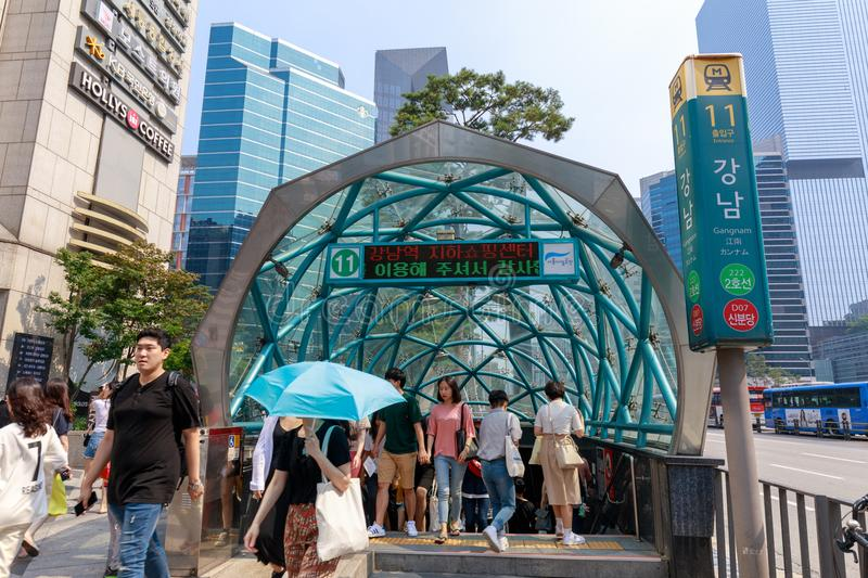 Gangnam subway station entrance in Seoul city royalty free stock photos