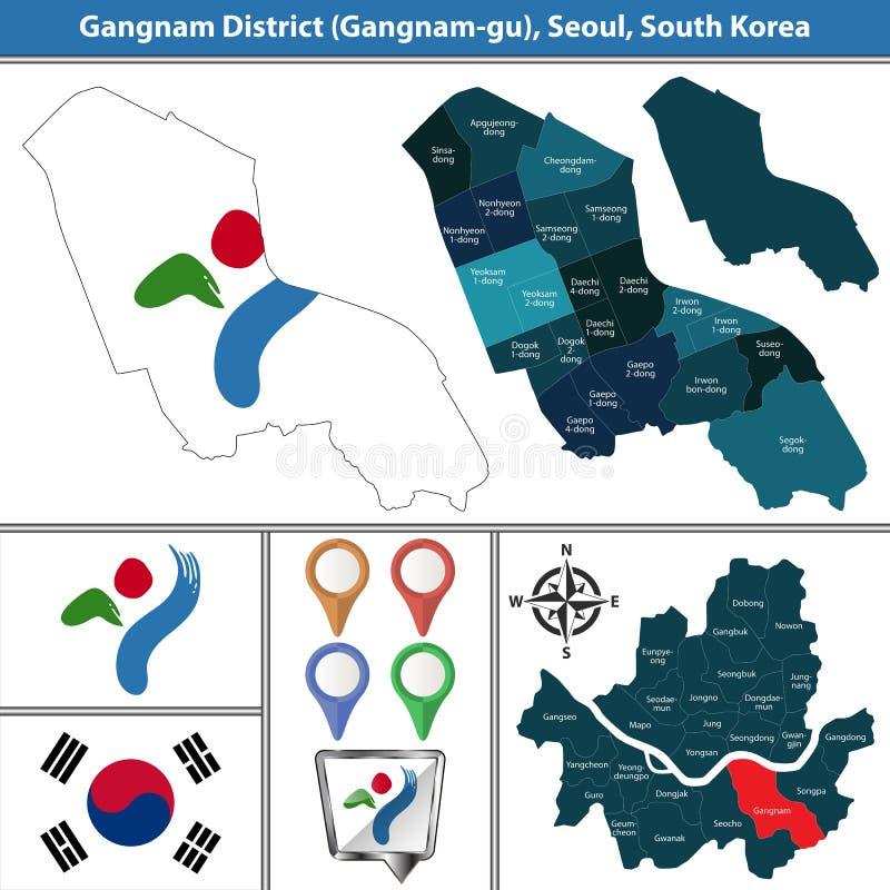 Gangnamdistrict, de Stad van Seoel, Zuid-Korea vector illustratie