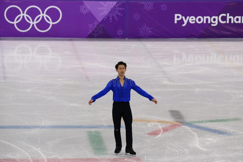 Denis Ten of Kazakhstan performs in Men Single Skating Short Program at the 2018 Winter Olympic Games stock photo