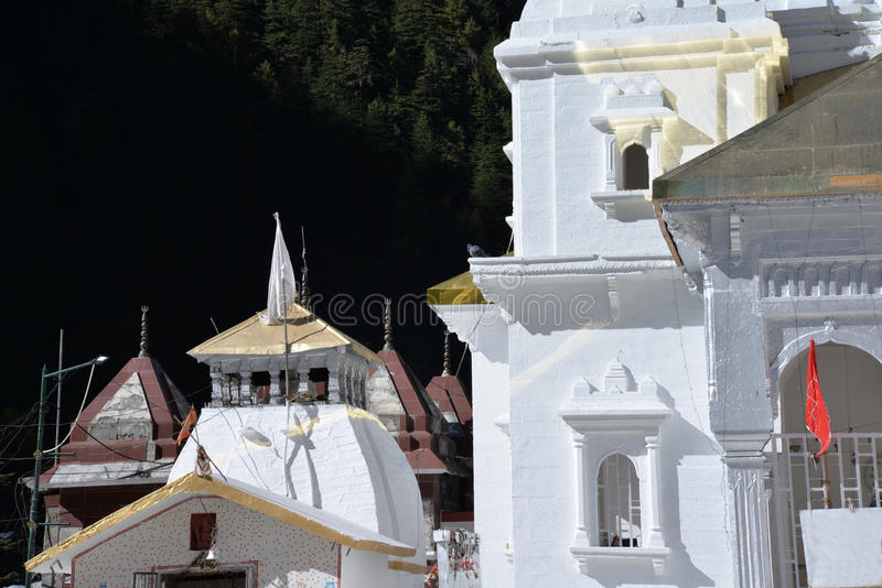Gangotri, Uttarakhand, Himalayas India. The main temple. Gangotri is a pilgrimage village close to the river Ganges sources in the Indian Himalayas. State of stock images
