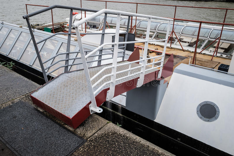 Gangplank (barge). A walkway/gangplank onto a barge royalty free stock images