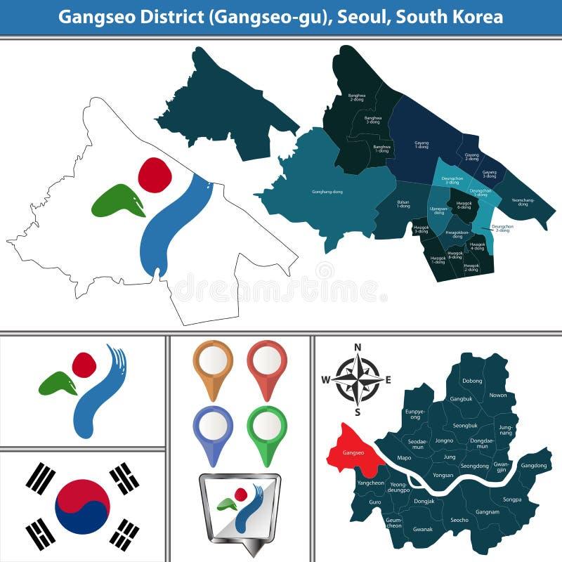 Gangseodistrict, de Stad van Seoel, Zuid-Korea royalty-vrije illustratie
