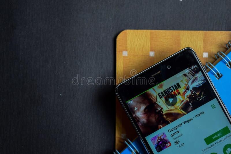 Gangstar Vegas - réalisateur APP de jeu de Mafia sur l'écran de Smartphone images stock