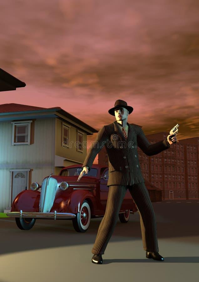 Gangster in der Stadt, mitten in der Straße, bewaffnet mit Gewehr, nahe einem alten Auto, Illustration 3d stock abbildung