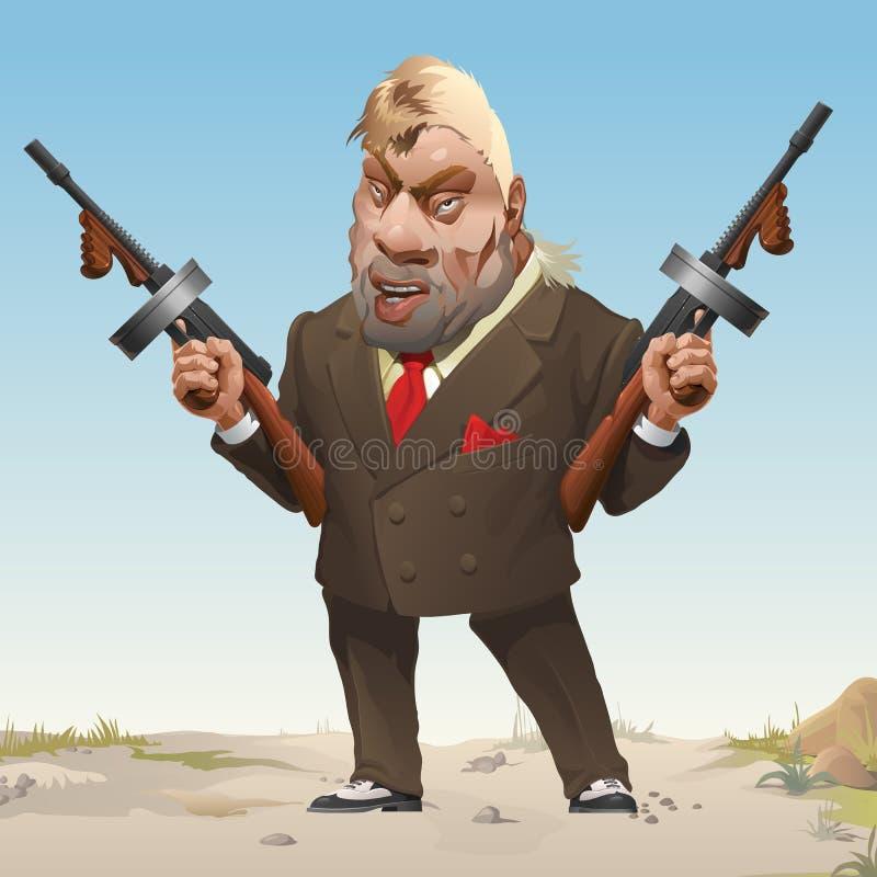 Gangster in der stilvollen Businessmodeklage und Turnschuhe bewaffneten mit zwei Maschinengewehren Bandit von wildem Westernstem vektor abbildung