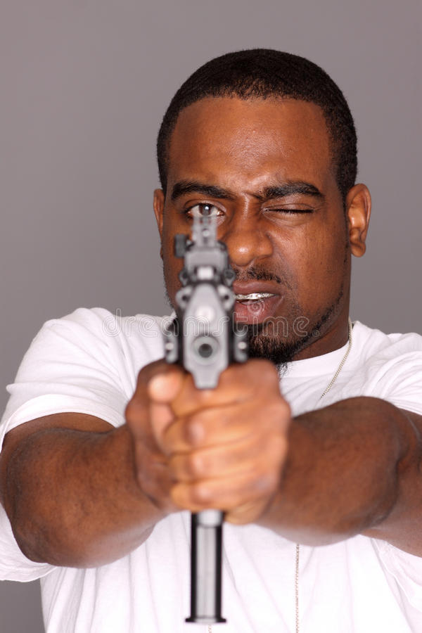 Gangster with gun stock photo