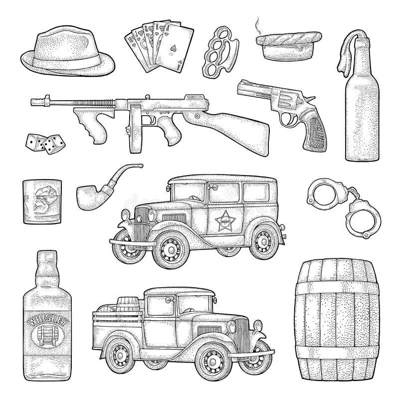 Gangster mafia set. Engraving vintage vector black illustration. stock illustration