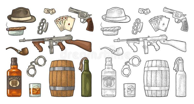 Gangster mafia set. Engraving vintage vector black illustration. royalty free illustration
