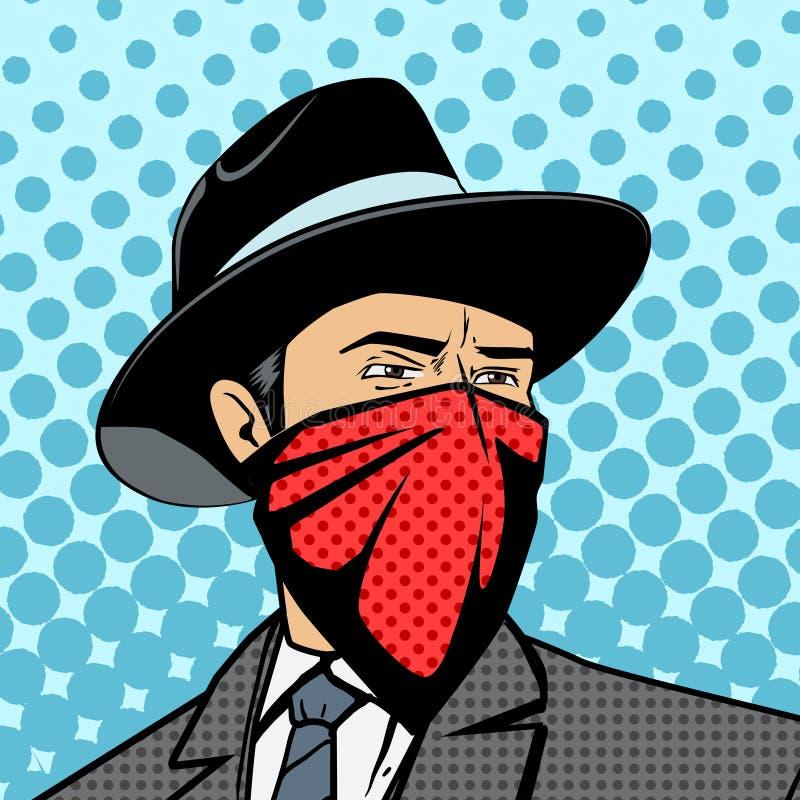 Gangster met de verborgen vector van het gezichtspop-art royalty-vrije illustratie