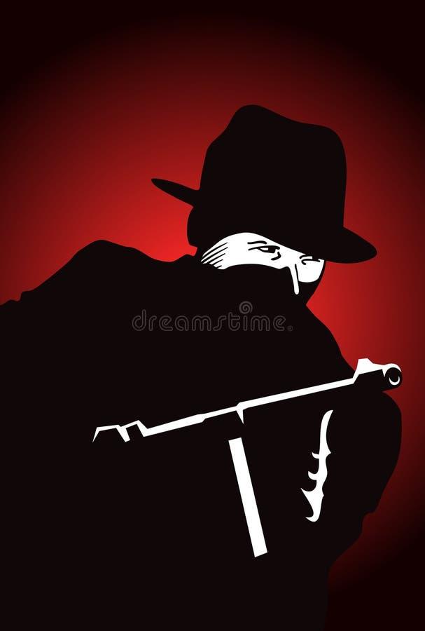 Gangster met Kanon stock illustratie