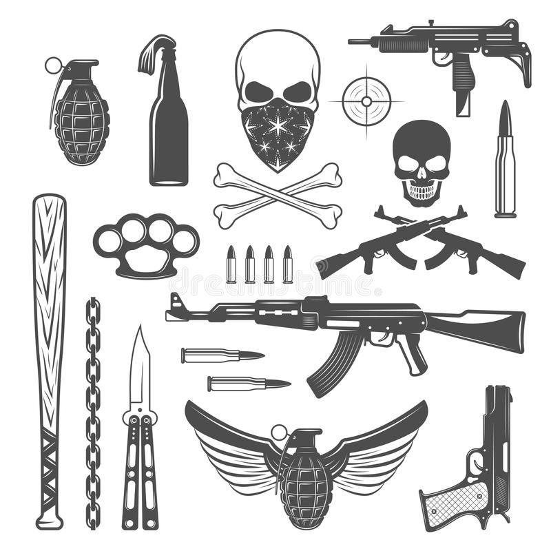 Gangster Monochrome Elements Set vector illustration