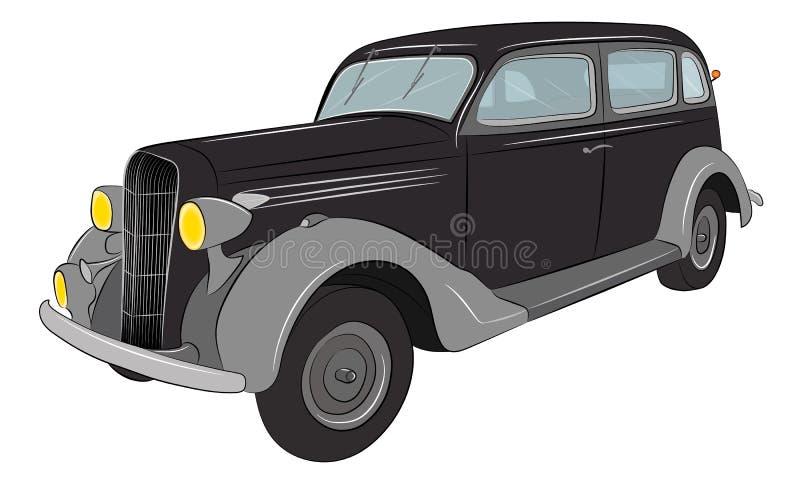 Gangster retro auto Klassieke Auto Uitstekende auto royalty-vrije illustratie