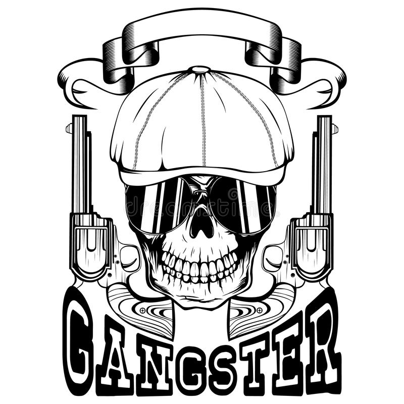 Skull In Hat Gangster Stock Vector. Illustration Of