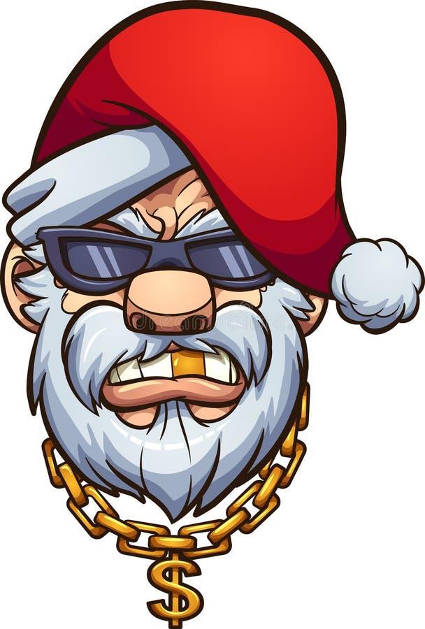 Gangster Santa Claus mit einem goldenen Zahn und einer goldenen Kette stock abbildung