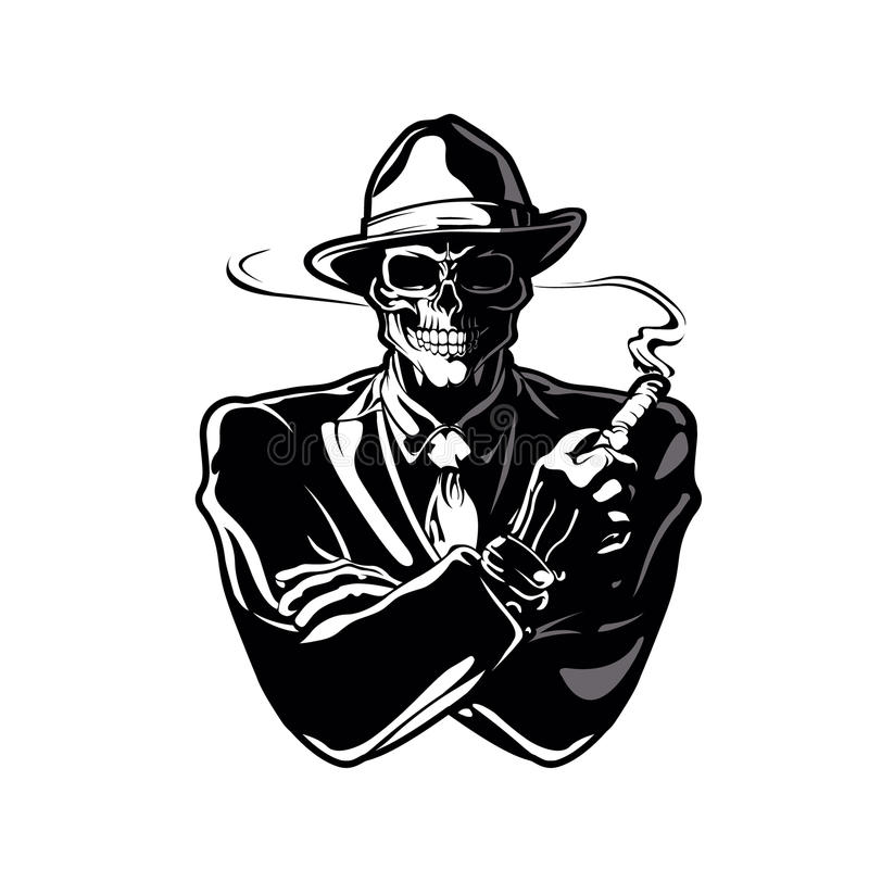 Gangster skull cartoon royalty free illustration