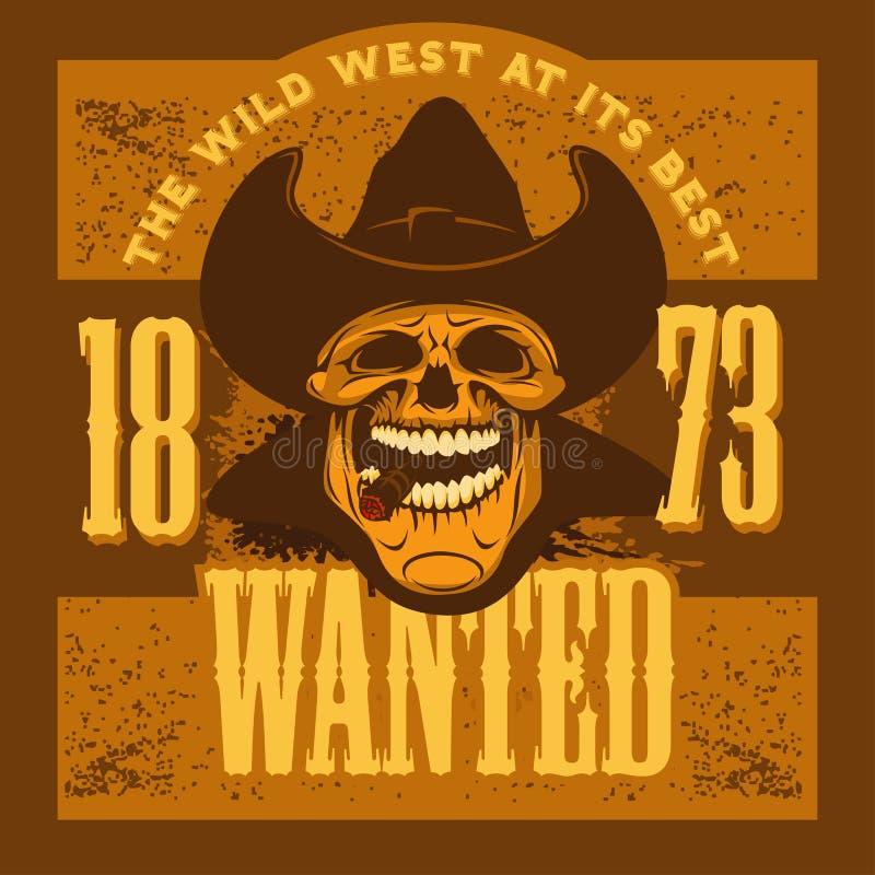 Gangster skull with cowboy hat and cigar. Grunge vintage poster stock illustration