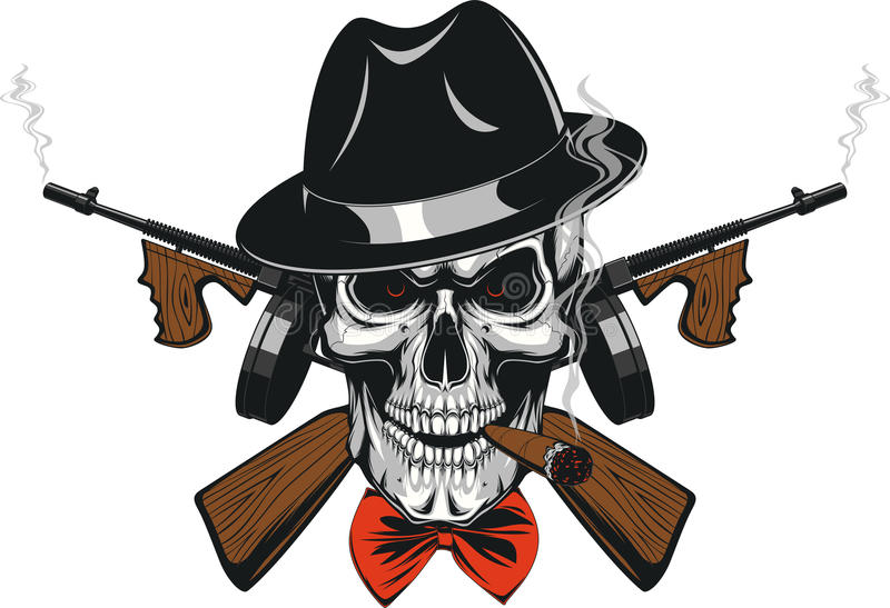 Gangster Skull mafia stock illustration