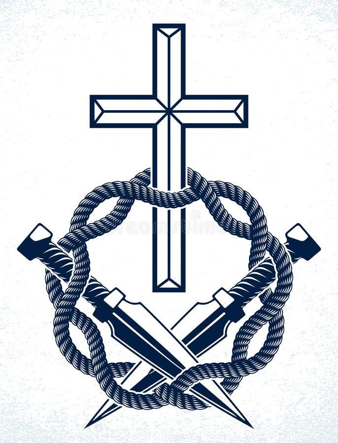 Gangster thug emblem ou logo com a Cruz Cristã, tatuagem vetorial, anarquia e caos, partidário rebelde morto ilustração do vetor