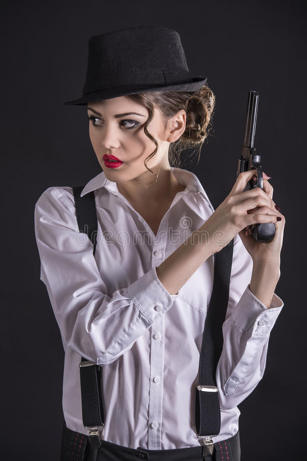 Gangster Woman stock photo. Image of firearm, elegant ...