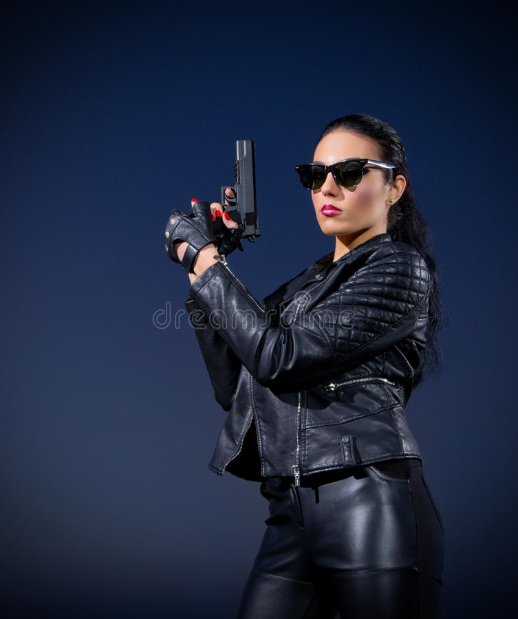 Gangster woman with gun royalty free stock photos