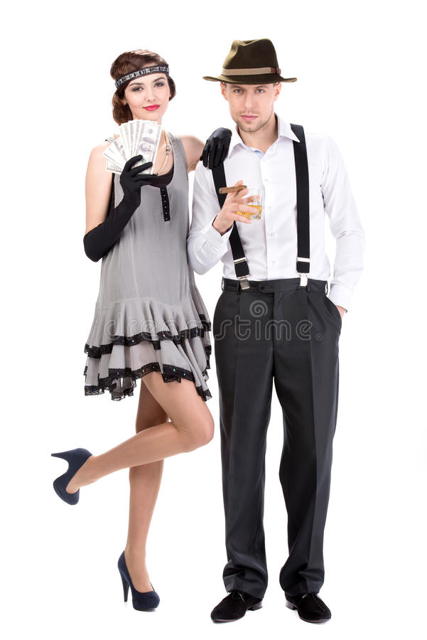 Gangsters. Male and female gangsters counting money. isolated on white background royalty free stock photo