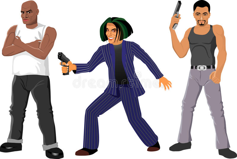 Gangsters. Personages in character, vector eps royalty free illustration