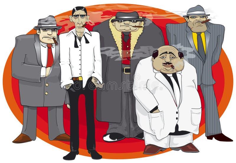 Gangsters mafia. Illustration of dangerous mafia group with cigars vector illustration