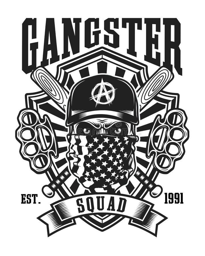 Gangsterschedel met Gekruist Honkbalknuppels en van Messingsgewrichten Embleem stock illustratie