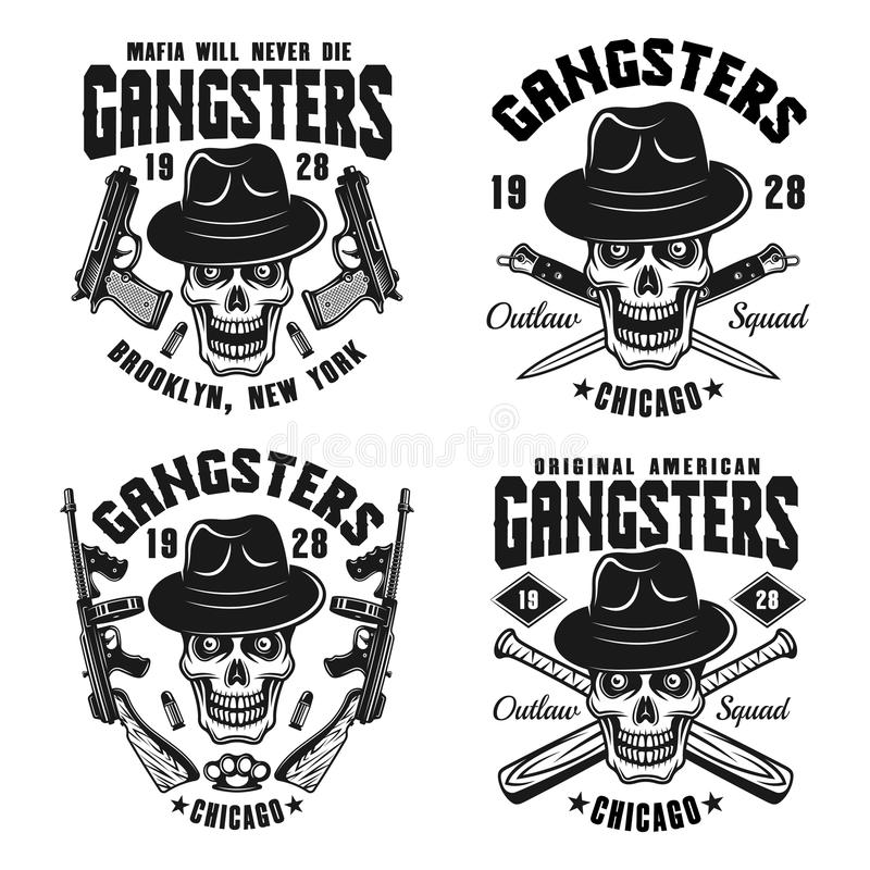 Gangstervektorembleme mit dem Schädel im Hut stock abbildung