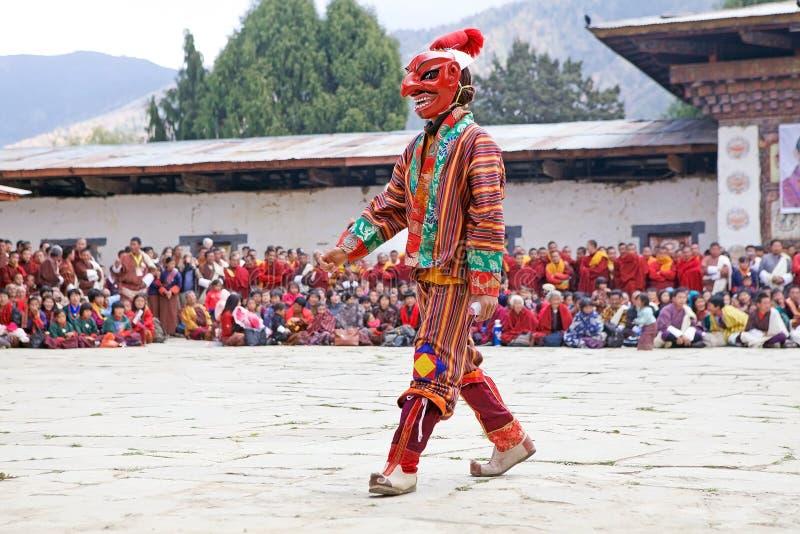 Gangtey修道院的被掩没的小丑, Gangteng,不丹 库存照片