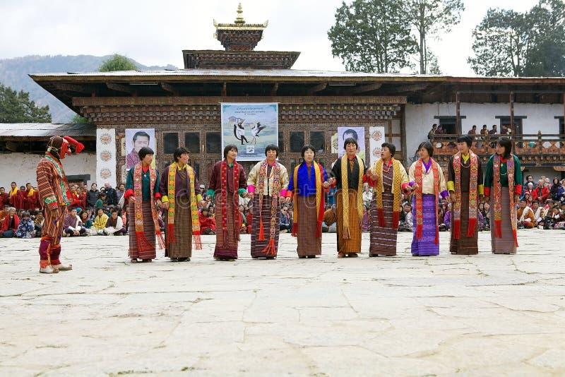 Gangtey修道院的, Gangteng,不丹舞蹈家 免版税图库摄影