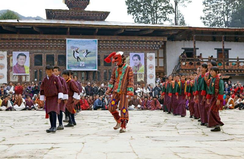 Gangtey修道院的, Gangteng,不丹舞蹈家 免版税库存照片