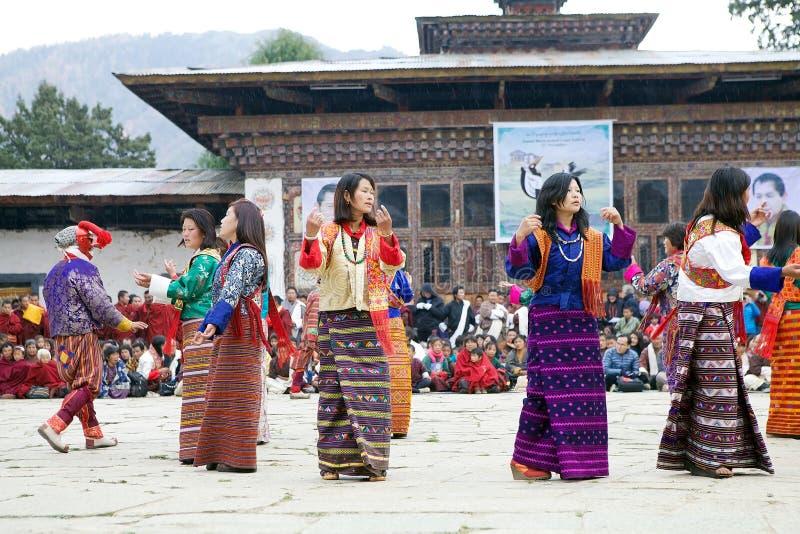 Gangtey修道院的, Gangteng,不丹舞蹈家 免版税库存图片