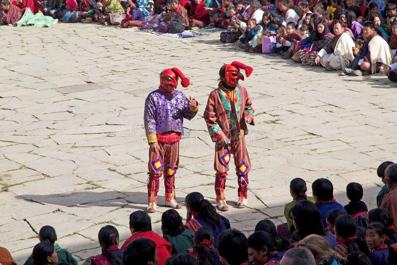 Gangtey修道院的, Gangteng,不丹被掩没的小丑 免版税库存照片