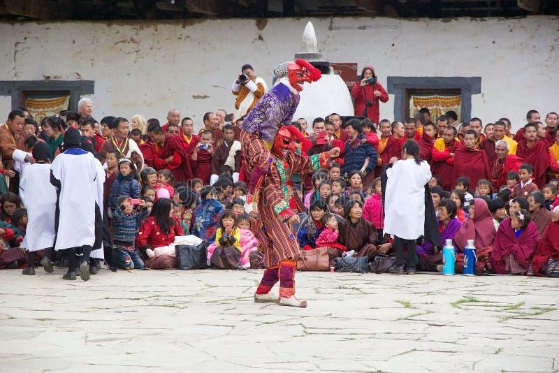 Gangtey修道院的, Gangteng,不丹被掩没的小丑 库存照片
